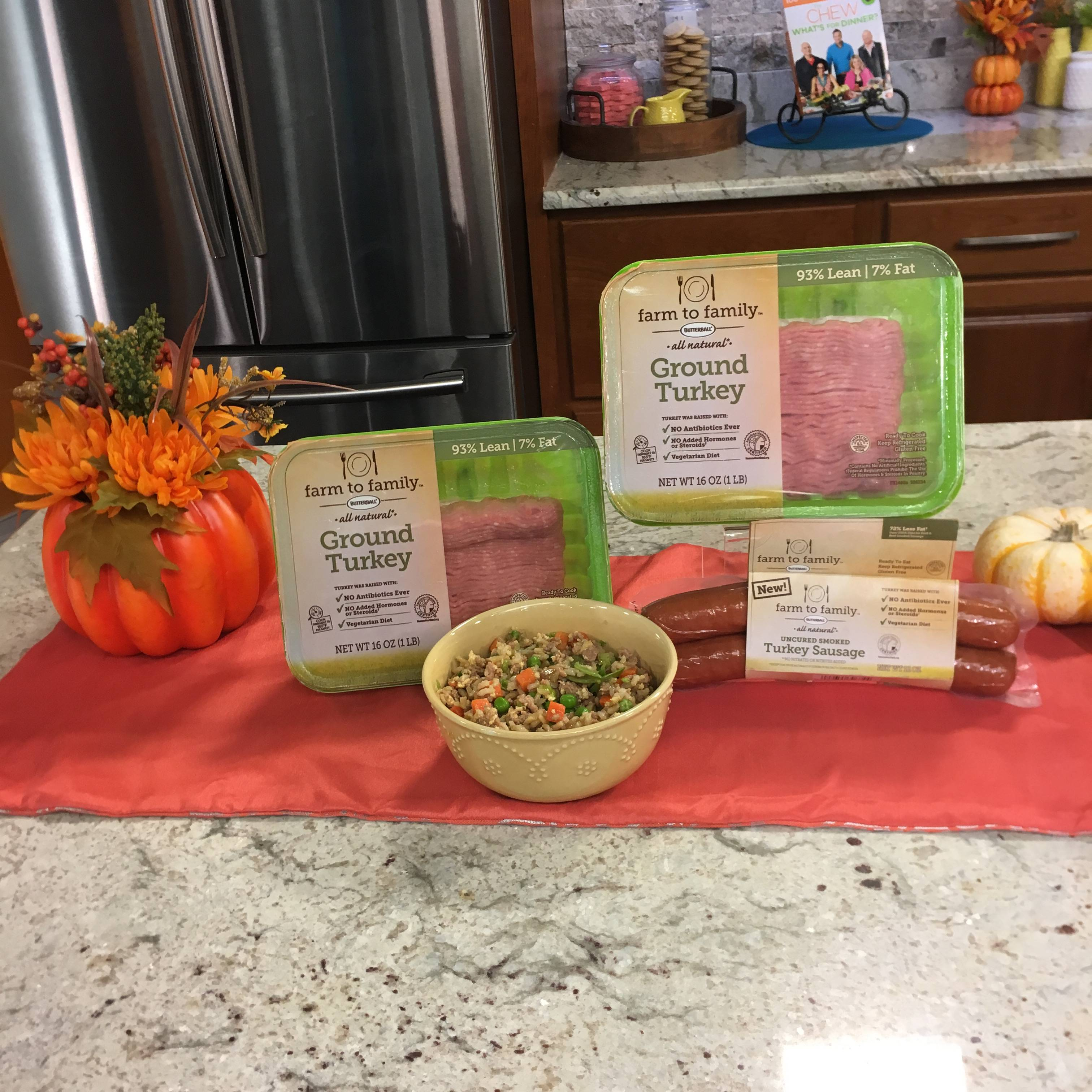Quick weeknight recipe using ground turkey and frozen vegetables