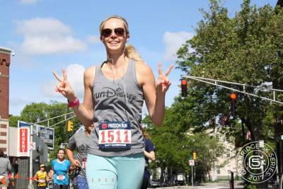 Carissa Bealert runs the Freedom 5k in Boston