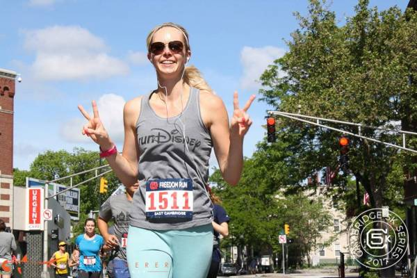 Carissa Bealert runs the Freedom 5k in Boston